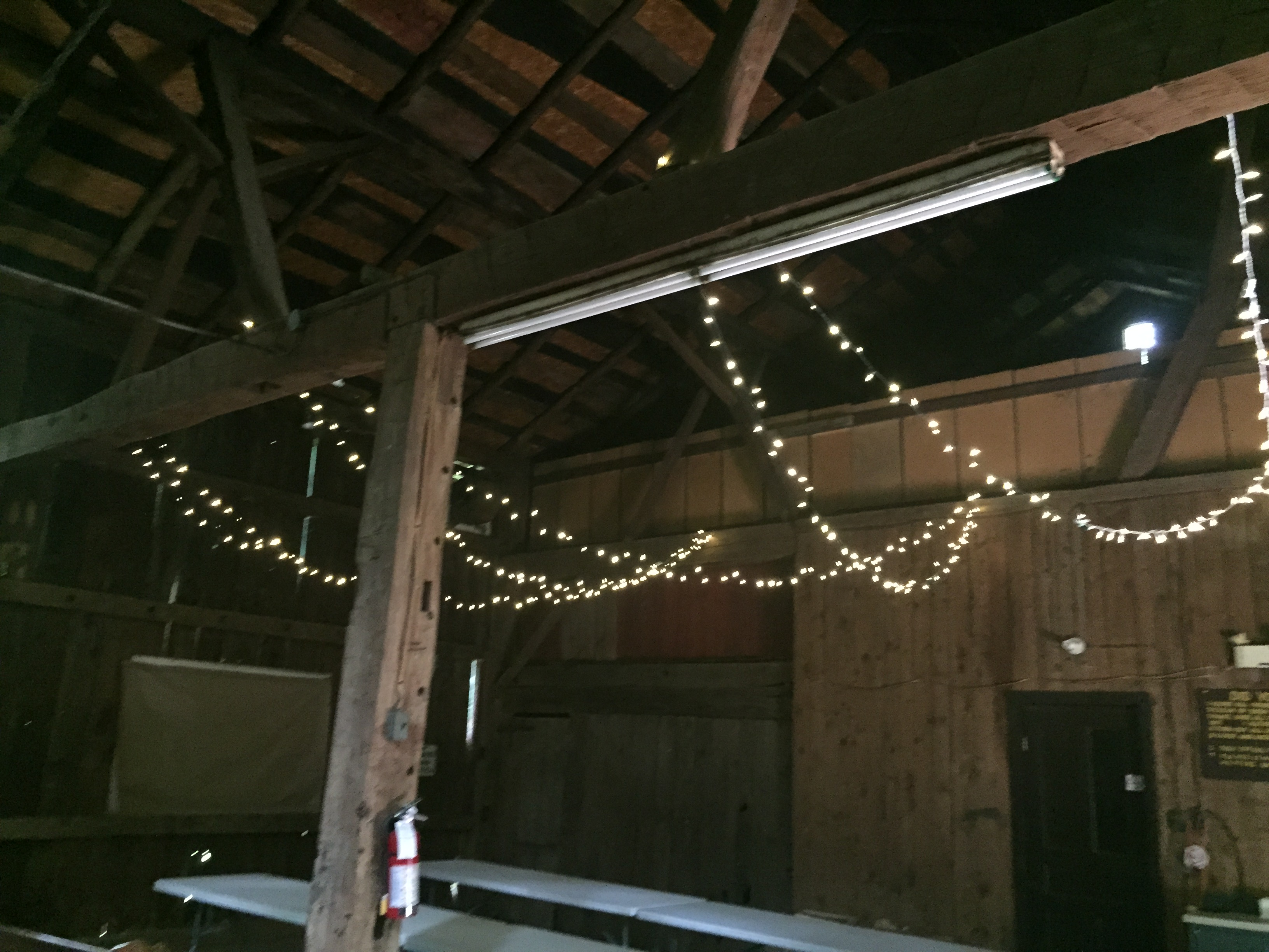 interior of barn pavilion with twinky lights