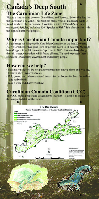 kiosk display panel about Carolinian Canada