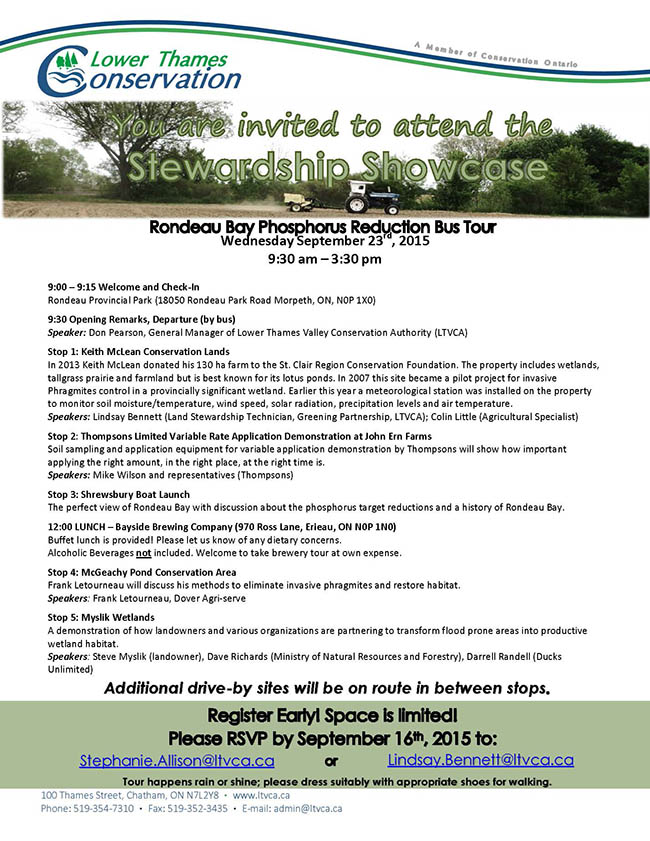 The Stewardship Showcase – Rondeau Bay Phosphorus Reduction Bus Tour
