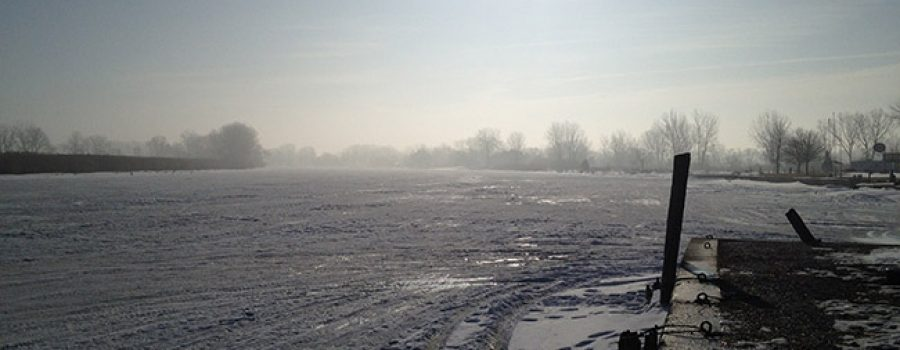 a view of the Thames River mouth with ice