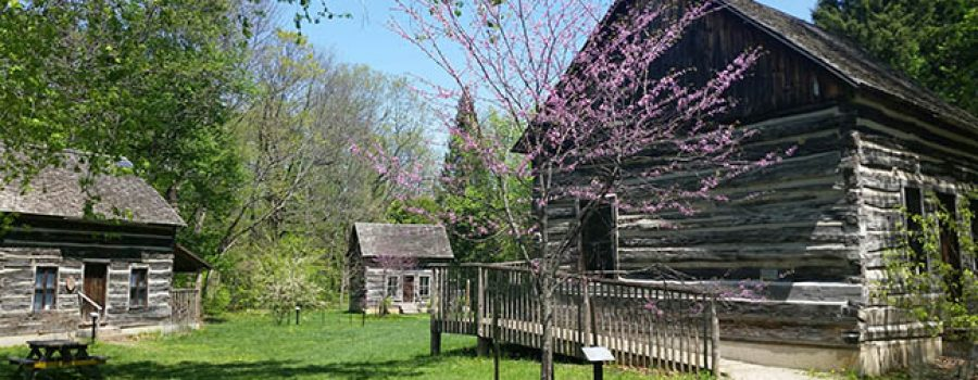 log cabins at Longwoods Road Conservation Area