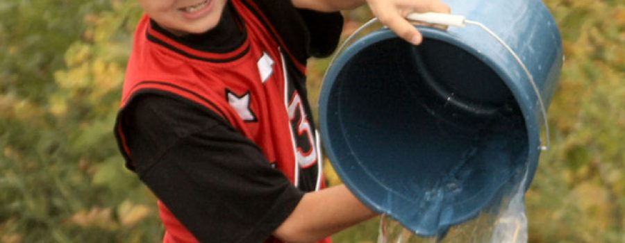 child pouring water from a bucket