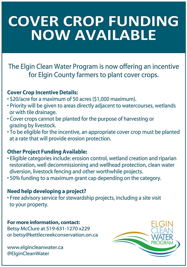 The Elgin Clean Water Program is now offering an incentive for Elgin County farmers to plant cover crops.