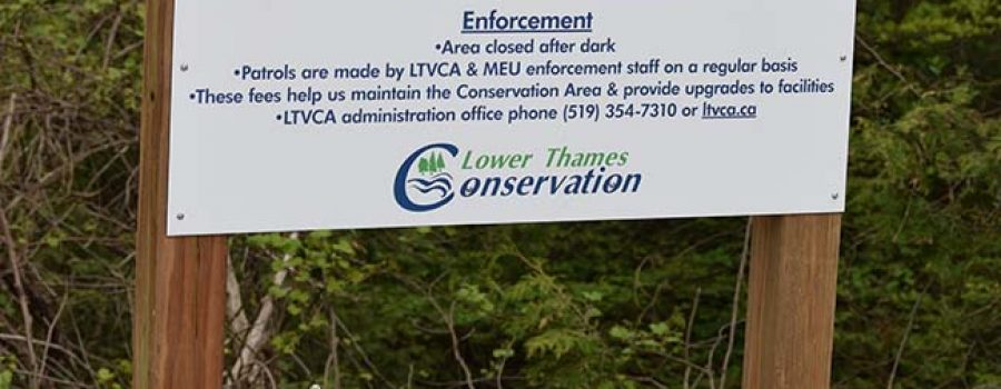 Mackay Pay conservation area sign at Sharon Creek Conservation Area