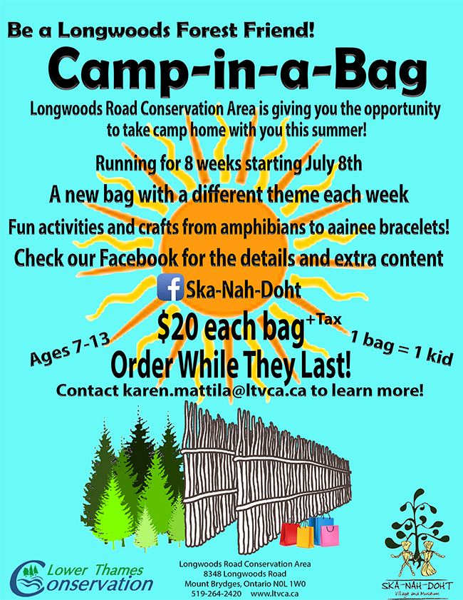 Longwoods 'Camp – in- a – Bag' this Summer!